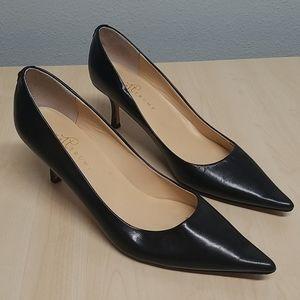 Ivanka Trump leather black heels 11 NARROW